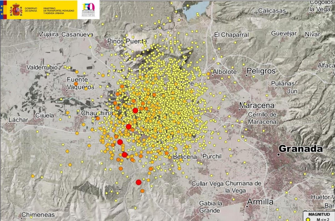 En lo que va de año se han calculado un total de 2724 terremotos en la provincia de Granada
