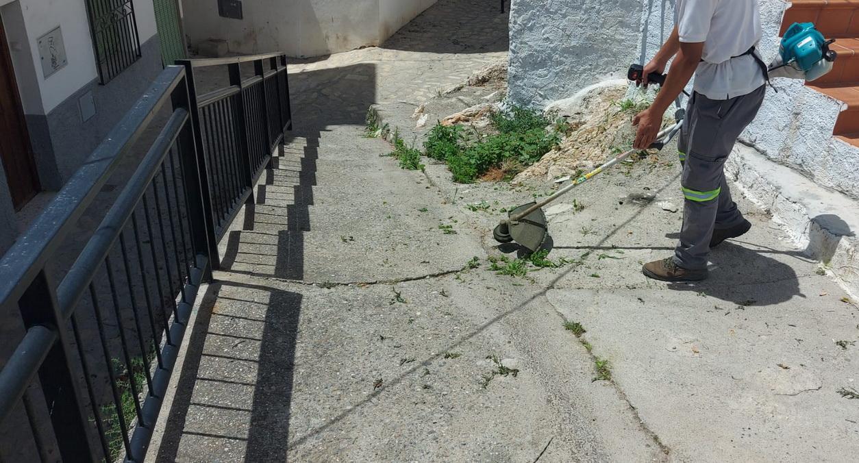 En marcha el plan de choque contra las malas hierbas en las vías públicas de Salobreña.