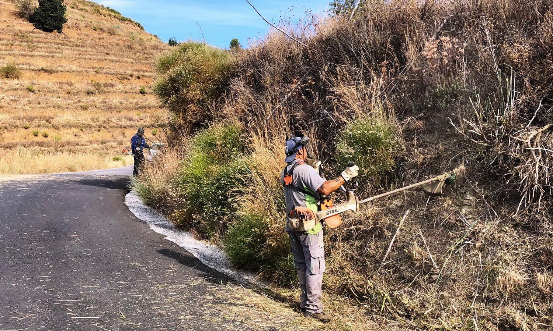 El Ayuntamiento de Almuñécar acomete la limpieza y desbroce del Camino del Pago de Río Seco.